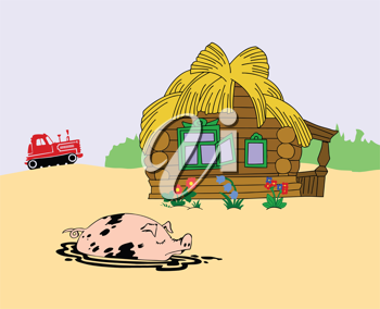 Royalty Free Clipart Image of a Farm