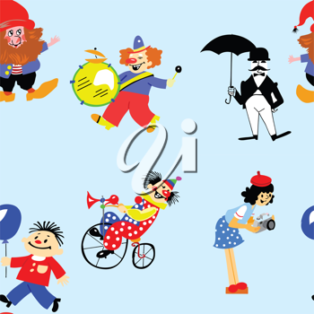 Royalty Free Clipart Image of a Clown Background