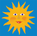 Royalty Free Clipart Image of a Smiling Sun