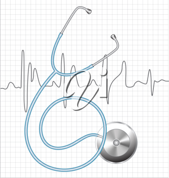 Royalty Free Clipart Image of a Stethoscope on an ECG Chart