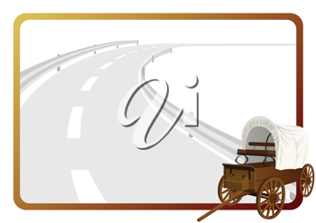 Royalty Free Clipart Image of a Frame Covered Wagon Background