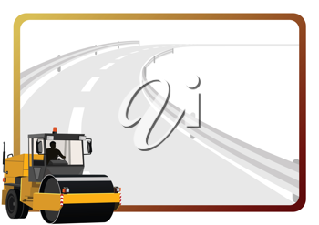 Royalty Free Clipart Image of a Tractor Paving the Road