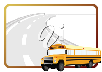Royalty Free Clipart Image of a School Bus and a Road