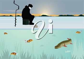 Royalty Free Clipart Image of a Man Ice Fishing