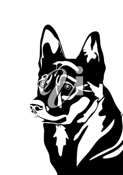 The head of a dog. Black and white illustration.