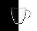 Royalty Free Photo of a Glass on a Half Black, and Half White Background
