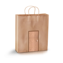 empty paper shopping bag with door.