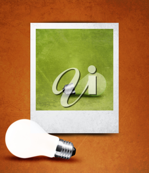 light bulb made in and out of photograph  , light bulb conceptual Image.