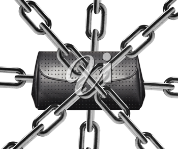 Metal chain around lady wallet.