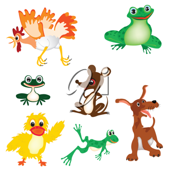 Royalty Free Clipart Image of a Set of Animals