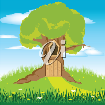 Illustration of a little door in a tree hollow
