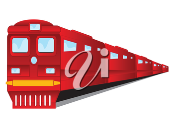 Vector illustration of the red train with coach