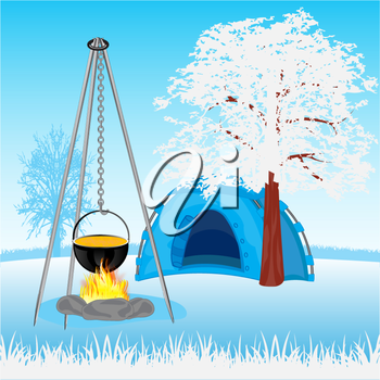 The Campfire and tent in wood in winter.Vector illustration