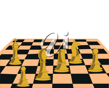 Chess board with figure on white background is insulated