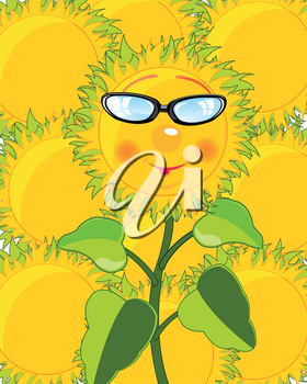 Cartoon of the sunflower bespectacled on background other sunflower