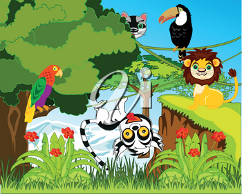 Vector illustration green jungle and their inhabitants animals and birds