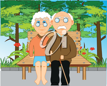 Elderly pair grandparent with grandmother repose on bench in park