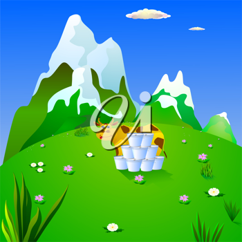 Royalty Free Clipart Image of a Cartoon Cow Standing in a Pasture With Pails of Milk Stacked Up, and Snowy Hills in the Background