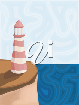 Royalty Free Clipart Image of a Pink and White Striped Light House on the Edge of An Ocean Cliff