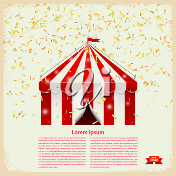 Circus big top with gold confetti on a retro background. Vector illustration