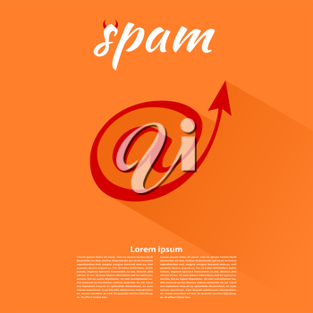 Spam icon on an orange background. Vector illustration