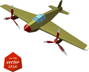 Retro plane on a white background. The twin-engine fighter. Vintage. Vector illustration.
