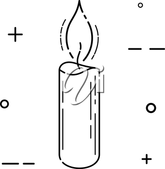 Black abstract simple icon candle on white background. Vector illustration