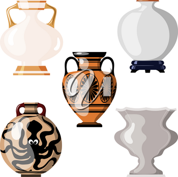Set of antique utensils for food on a white background. Collection of vintage amphorae for wine, grain, oil and incense. Cartoon style. Vector illustration