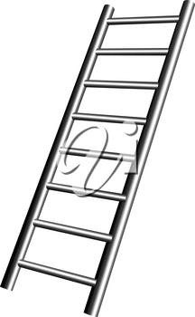 Realistic metal staircase on a white background. Vector illustration