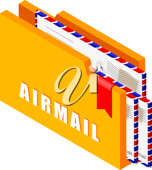 Yellow folder with airmail envelopes on a white background in isometric style. Vector illustration of mail icons and symbols in trend style