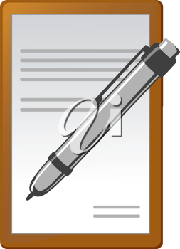 Royalty Free Clipart Image of a Notebook and Pen