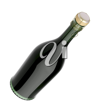 Sparkling wine bottle isolated on white background