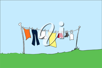 Royalty Free Clipart Image of Clothes on a Clothesline