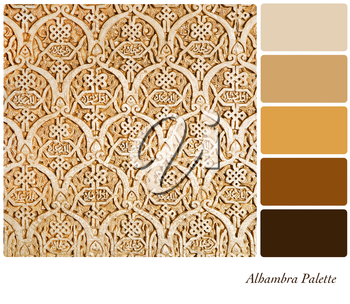 An expample of the intricate wall carvings or the Nasrid Palace, Alhambra, in a colour palette with complimentary colour swatches.
