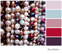 A background of freshwater pearls in a colour palette,  with complimentary colour swatches. Textured retro style effect.