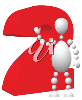 Royalty Free Clipart Image of an Android Beside the Number Two