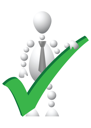 Royalty Free Clipart Image of an Android in a Tie With a Check Mark