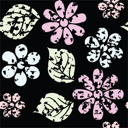 Royalty Free Clipart Image of a Leaf and Flower Background