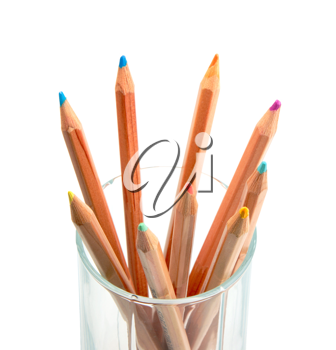 Set of multicolored wood pencils in glass. Close-up. Isolated on white background.