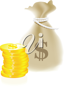 Royalty Free Clipart Image of a Money Bag and Coins