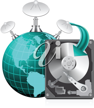 Royalty Free Clipart Image of a Hard Drive, Globe and Satellites