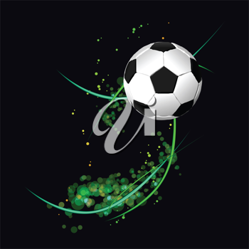 Royalty Free Clipart Image of a Soccer Ball on Black