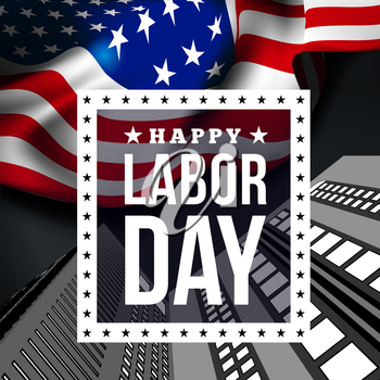 Happy labor day. Vector illustration with USA flag
