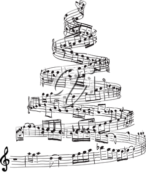 Christmas tree from music notes. Vector illustration