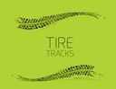 Tire tracks background. Vector illustration on green