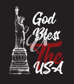 God Bless The USA text with The Statue of Liberty. Vector illustration