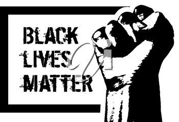 Black lives matter. Vector illustration with hand on white
