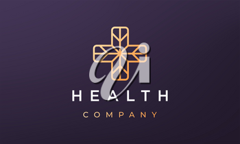 cross health logo concept in modern and minimal style