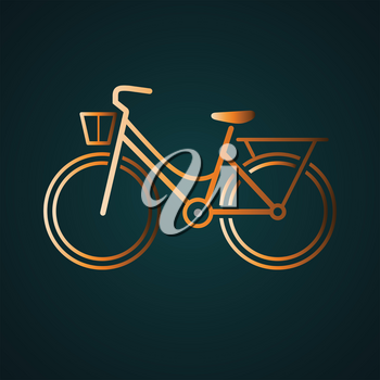 Woman bicycle icon vector logo. Gradient gold concept with dark background