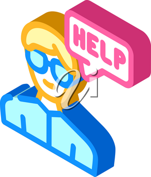 call for help isometric icon vector. call for help sign. isolated symbol illustration